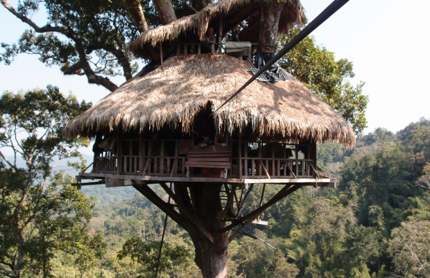 The Mundane Traveller in a treehouse in Laos