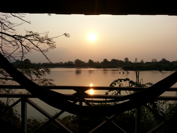 Enjoying the sunset on the 4000 islands, Don Det, Laos