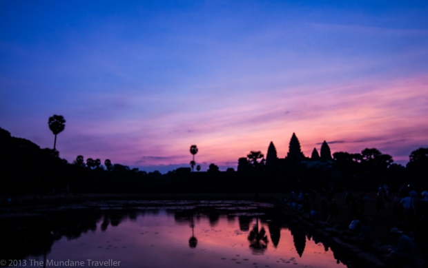 Watching the rising sun in Angkor Wat