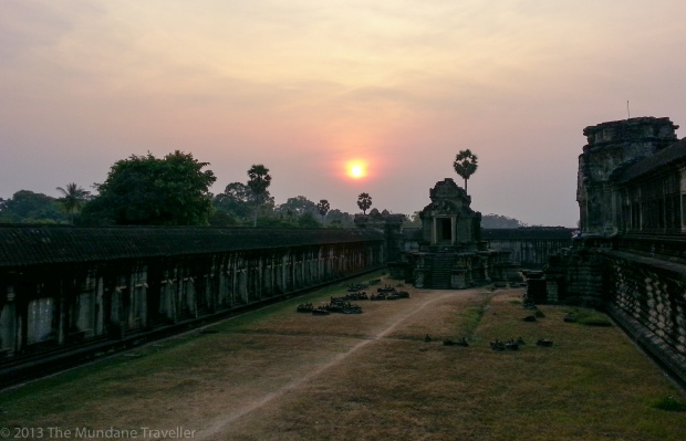 The Mundane Traveller watching the sunset in Ankor Wat, Siem Riep, Cambodia