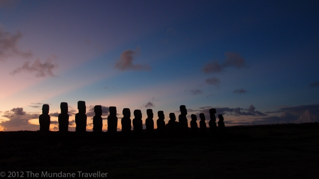 The Mundane Traveller on Easter Island at 6:30 in the morning