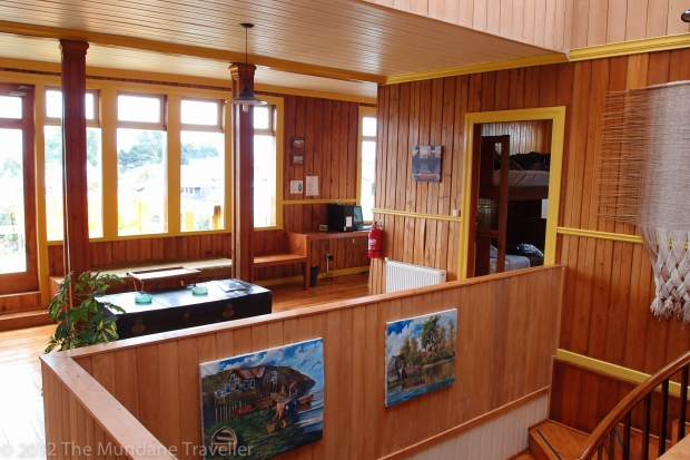 The Mundane Traveller at the 13 Lunas Youth Hostel in Ancud, Lake District, Chile